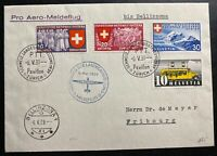 1939 Zurich Switzerland Airmail cover To Fribourg Pro Aviation Cancels