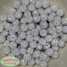 12mm White Resin Rhinestone Bubblegum Beads Lot 40 pc.chunky gumball