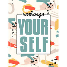 Funky Affirmation Recharge Yourself Canvas Wall Art Print Poster