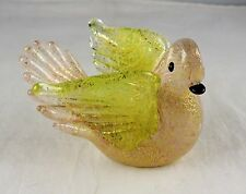 Small Murano Studio Art Glass Bird Figurine - Pink, Gold, Black