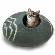 100% Natural Wool Large Cat Cave - Handmade Premium Shaped Felt - Makes Great Co