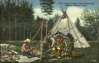 Superior National Forest Native American Indians Tepee Linen Postcard