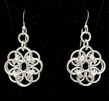 Chainmaille Sterling Silver Celtic Knot Earrings. 1 3/8 inches.
