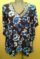 Ladies Womens Kaftan Blouse Top Blue Floral Stretch Smart Casual Millers Size 18