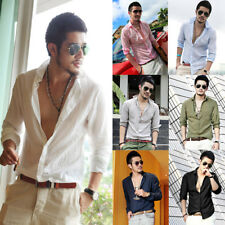 Mens Stylish Ultra-Thin Cotton Linen Blend Long Sleeve Casual Shirts Tops Blouse