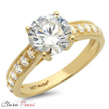 Round Cut Solitaire Engagement Wedding Ring Accent 2.27 CT Real 14k Yellow Gold