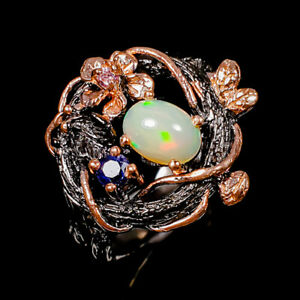 Handmade jewelry Opal Ring Silver 925 Sterling  Size 9 /R171887