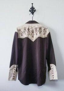 Scully Embroidered Western Shirt Size M Cowboy Pearl Snap