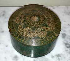 Beautiful Antique Hand Painted Wooden Lacquerware Round Box From India