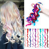 "Mixed Rainbow Streaks Highlight Clip in Synthetic Hair Extension 20"" Curly Wavy"