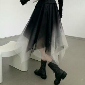 Ladies Irregular Mesh Skirt Gradient Layered Fluffy Elastic Waist Gothic A-Line