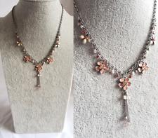 FLOWER PENDANT NECKLACE Vintage Retro Pink Enamel Diamante Style By BIJOUX