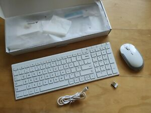 White Slim Wireless Keyboard + Mouse USB Receiver iClever
