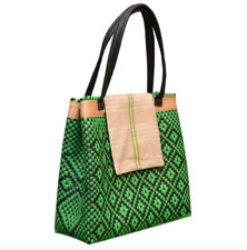 Oaxacan Handwoven Tote Bag Fully Lined Made of Recycled Plastic Green & Black