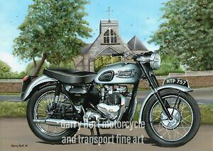 "Triumph Tiger 100, Motorcycle Art Mini Print 10"" x 8"" Mounted"