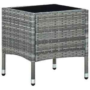 Outdoor Garden Side Table Poly Rattan Furniture Grey, Patio Conservatory Coffee