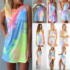 Women BOHO Sleeveless Tie-dye Rompers Holiday Rainbow Beach Party Dress Sundress
