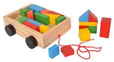 Holzkarre Karre mit Bausteinen Spielzeug aus Holz Kinder Kleinkind HM012787