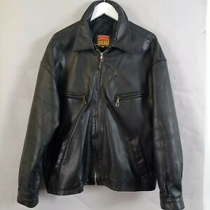 Vintage Tennents Lager Black Leather Jacket Large Bomber Zip Retro Scotland