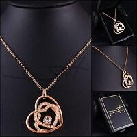 Herzkette Halskette Kette *Großes Herz*, Rosegold pl., Swarovski Elements +Etui