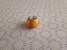 925 Yellow Pink Bow Murano Glass Lampwork Charm Fits European Bracelet