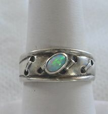 """Handmade Vintage 925 Sterling Silver .3"""" Ring Size 7.75 Genuine White Fire Opal"""
