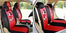 10PCS Red + black cartoon mouse CAR SEAT COVERS FRONT REAR COVER ACCESSORY SET