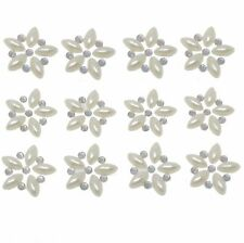 24 PEARL & AB CRYSTAL SELF ADHESIVE FLOWERS approx size 2.5cm dia 2 SHEETS
