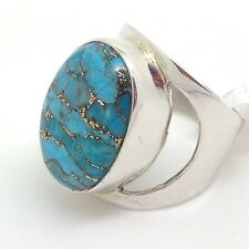 Mohave turquoise solid Sterling Silver ring, UK size M, oval, new, actual one.