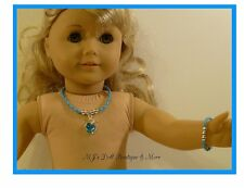 Turquoise Apple Rhinestones Necklace & Bracelet Set fits American Girl Doll