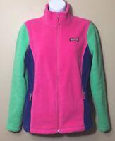 Vineyard Vines Color Block Jacket Small S Fleece Zip Pink Green Blue Whale