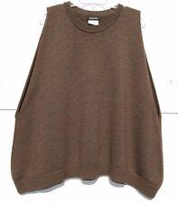 Eskandar OLIVE MELANGE Medium Weight Merino Wool Round Nk Sweater Vest O/S $990