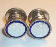 Vintage Kum-A-Part Men's Enamel Cufflinks White Cobalt Blue Round Baer & Wilde