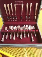 ADORATION 1847 Rogers silverplate 46pc Service for 8 forks, knives, spoons +plus