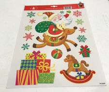 Christmas Santa & Snowflakes Window Clings 14 Count Decorations Holiday Decor