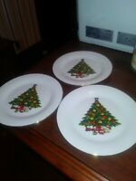 3 CHRISTMAS TREE SEA GULL BREAD PLATES FINE CHINA BY JIAN SHIANG  FREE SHIPPING