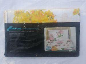 Vintage NOS FIELDCREST Percale Permanent Press Full Size Flat Sheet Floral