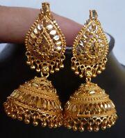 Ohrringe 22K Gold überzogene indische Hochzeitsfest Jhumka nn