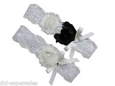 Black & White Wedding Garter Set (keep+toss) Lace Bow Pearl Rhinestone, Sexy