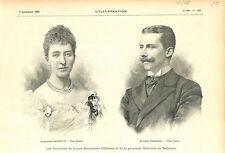 Fiançaille d'Emmanuel d'Orléans et princesse Henriette de Belgique GRAVURE 1895