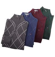 Tommy Hilfiger Men 1/2 Half Zip Mock Turtle Neck Argyle Solid Sweater - $0 Ship