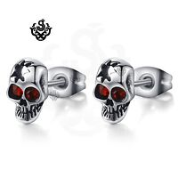 Silver stud made with swarovski crystal stainless steel skull earrings Gothic
