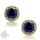 2.49 CT HALO STUD CUSHION BLUE & WHITE SAPPHIRE 14k YELLOW GOLD STUD EARRINGS