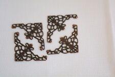 4 Pcs Copper Tone Filigree Wraps Connectors Metal Craft Gift Decoration art. 315