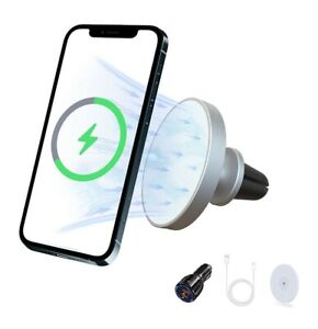 Car Mount Wireless Charger Pad & Magnetic Phone Holder Charger Max 15W..