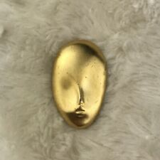 Vintage Gold Tone Face Pin Brooch Fashion Jewelry *Read