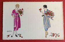 CPA. Illustrateur MARZO. Art Déco. Mode. Jeunes Femmes. Fleurs. Bonne Fête.