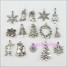 30Pcs Mixed Tibetan Silver Tone Christmas Charms Pendants