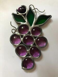 Vintage Artist made Leaded Glass Suncatcher ~ Grape Cluster ~ Gorgeous!