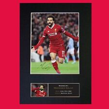 More details for mohamed salah signed reproduction autograph mounted photo print a4 764